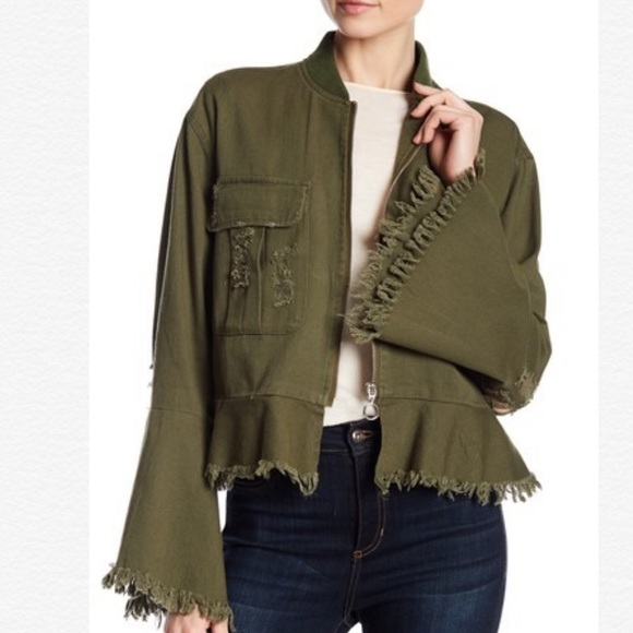 bagatelle Jackets & Blazers - New Bagatelle Army Green Distressed Bomber Jacket